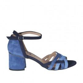 Scarpa aperta con cinturino da donna in camoscio blu, bluette e azzurro tacco 5 - Misure disponibili: 32, 33, 34, 42, 43, 44, 45