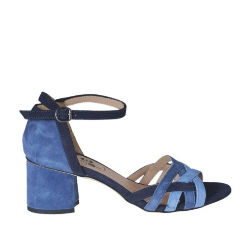 Woman's open strap shoe in blue, light blue and royal blue suede heel 5 - Available sizes:  45