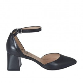 Chaussure ouvert à bout pointu pour femmes en cuir noir avec courroie talon 5 - Pointures disponibles: 33, 34, 42, 43, 44, 45