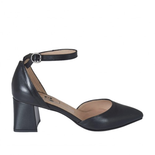 Woman's open strap shoe with pointy tip in black leather heel 5 - Available sizes:  45