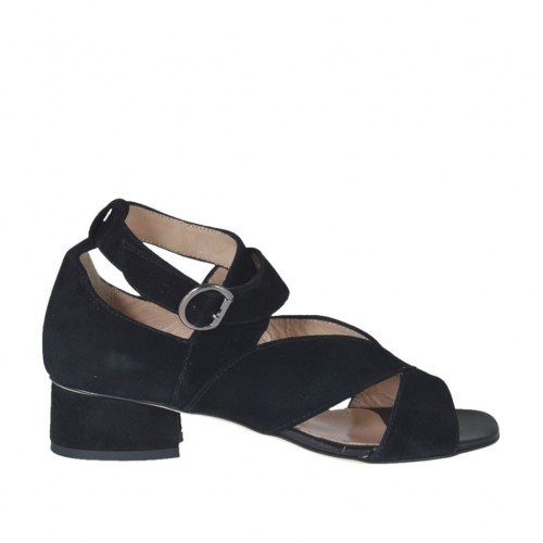 Woman's open strap shoe in black suede heel 3 - Available sizes:  32