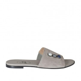 Women's open mule with multicolored pearls in dove grey suede heel 1 - Available sizes:  32, 33, 34, 42, 43, 44, 45, 46