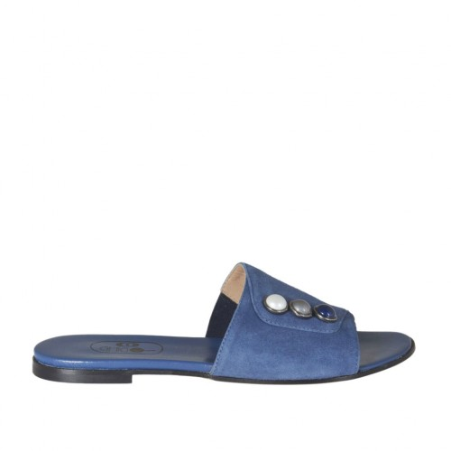 Women's open mule with multicolored pearls in blue suede heel 1 - Available sizes:  32, 33, 34, 42, 43, 44, 45, 46