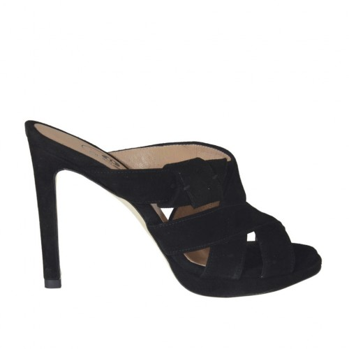 Woman's mules in black suede with platform and heel 9 - Available sizes:  33