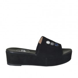 Women's open mule with multicolored pearls in black suede wedge heel 4 - Available sizes:  33, 42, 43