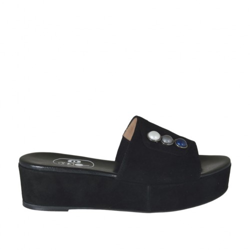 Women's open mule with multicolored pearls in black suede wedge heel 4 - Available sizes:  42, 43