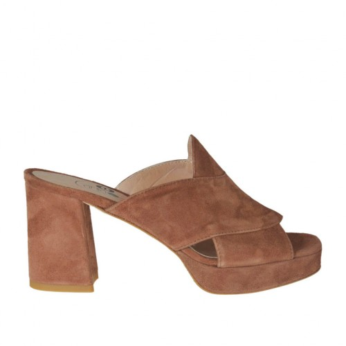 Woman's mules in brown suede with platform and heel 7 - Available sizes:  42, 43, 44, 45
