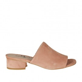 Woman's open mules in peach pink suede heel 3 - Available sizes:  32