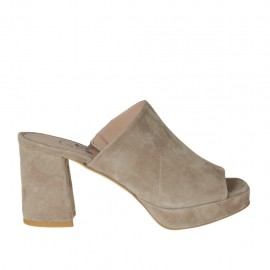 Woman's mules in taupe suede with platform and heel 7 - Available sizes: 32, 33, 34, 42, 43, 44, 45