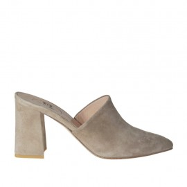 Woman's closed toe mules in taupe suede heel 7 - Available sizes: 32, 33, 34, 42, 43, 44