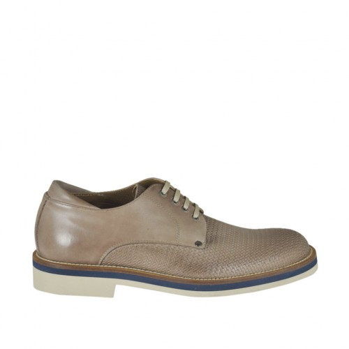Men's casual laced derby shoe in taupe leather and printed leather - Available sizes:  47, 48