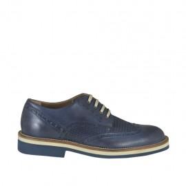 Chaussure derby sportif à lacets pour hommes en cuir et cuir imprimé bleu - Pointures disponibles: 36, 37, 38, 46, 47, 48, 49