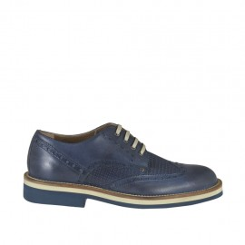 Men's casual laced derby shoe in blue leather and printed leather - Available sizes:  36, 37, 38, 46, 47