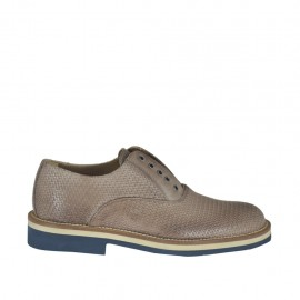 Men's causal shoe with elastic and optional laces in taupe printed leather - Available sizes:  36, 37, 46, 47, 48