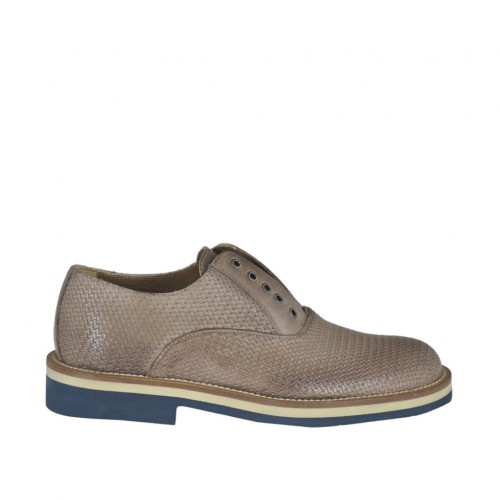 Men's causal shoe with elastic and optional laces in taupe printed leather - Available sizes:  46, 47, 48