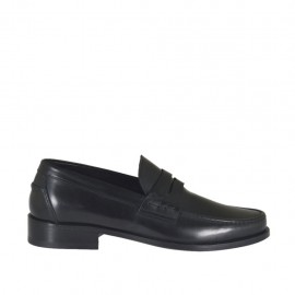 Man's elegant mocassin in black leather - Available sizes:  38, 47, 48, 49