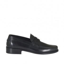 Mocassin élégante pour hommes en cuir noir - Pointures disponibles: 37, 38, 46, 47, 48, 49