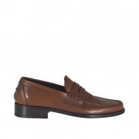 Mocassin élégante pour hommes en cuir marron - Pointures disponibles: 36, 37, 38, 46, 47, 48, 49