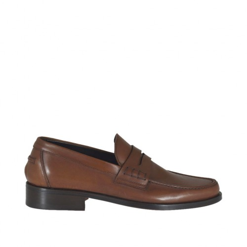 Man's elegant mocassin in brown leather - Available sizes:  36, 37, 38, 47, 48, 49