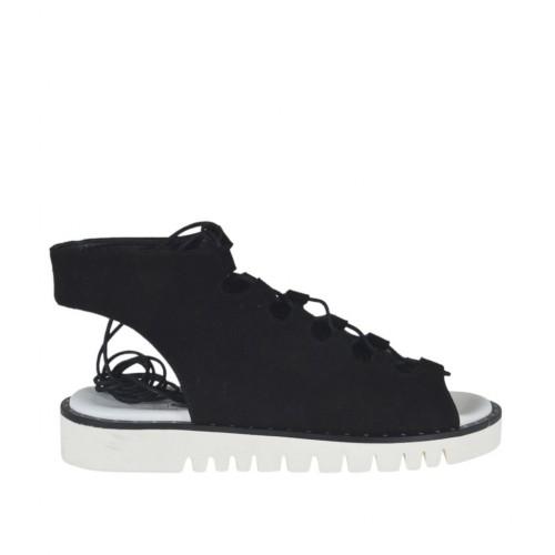 Sandale à lacets pour femmes en daim noir talon compensé 3 - Pointures disponibles:  44