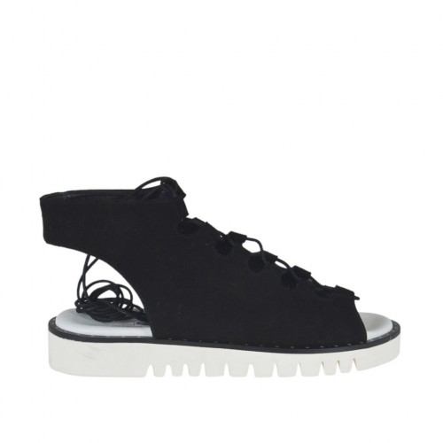 Woman's laced sandal in black suede wedge heel 3 - Available sizes:  43, 44