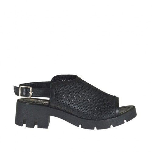 Woman's highfronted sandal in black pierced leather heel 5 - Available sizes:  44