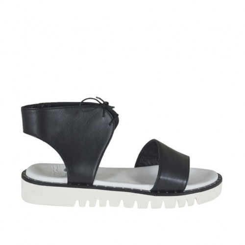 Woman's laced sandal in black leather wedge heel 3 - Available sizes:  42, 44, 45