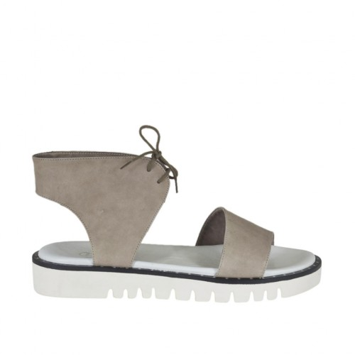 Woman's laced sandal in dove grey leather wedge heel 3 - Available sizes:  43, 44