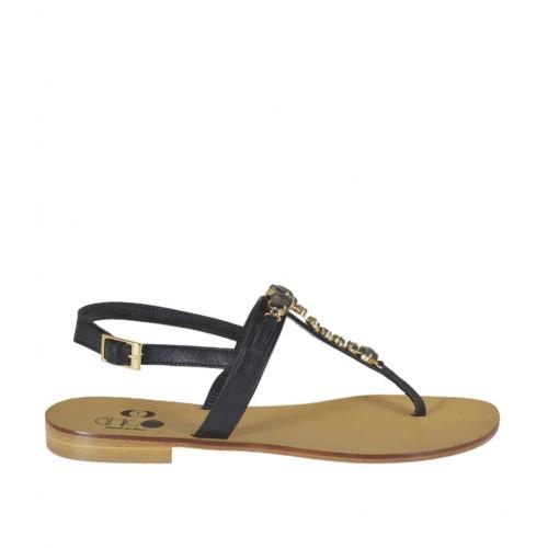 Sandale entredoigt pour femmes avec pierres en cuir noir talon 1 - Pointures disponibles:  42