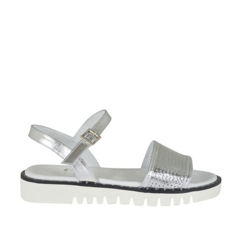 Woman's strap sandal in silver laminated leather and pierced leather wedge heel 3 - Available sizes:  42