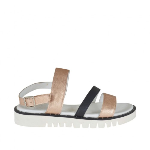 Woman's sandal in copper laminated leather and black leather wedge heel 3 - Available sizes:  42, 43, 44