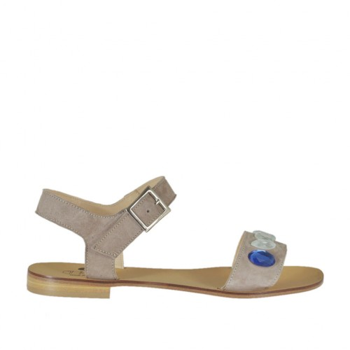 Women's strap sandal with colored rhinestones in taupe suede heel 1 - Available sizes:  45