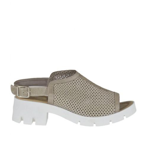 Sandale haute pour femmes en cuir perforé