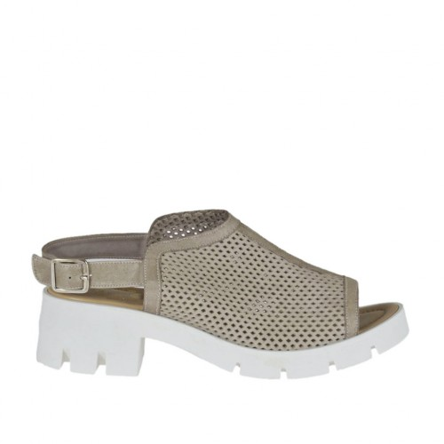 Woman's highfronted sandal in taupe pierced leather heel 5 - Available sizes:  42, 43