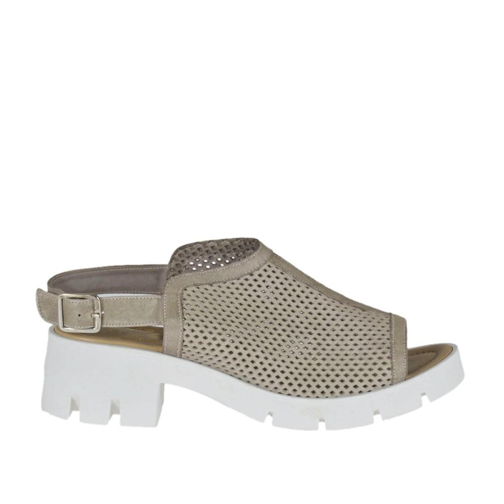sandale haute pour femmes en cuir perfor taupe talon 5 ghigocalzature. Black Bedroom Furniture Sets. Home Design Ideas
