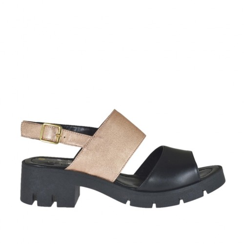 Woman's sandal in copper laminated leather and black leather heel 5 - Available sizes:  42, 43