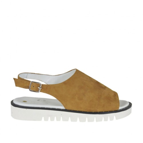 Woman's sandal in ocher suede wedge heel 3 - Available sizes:  42, 43