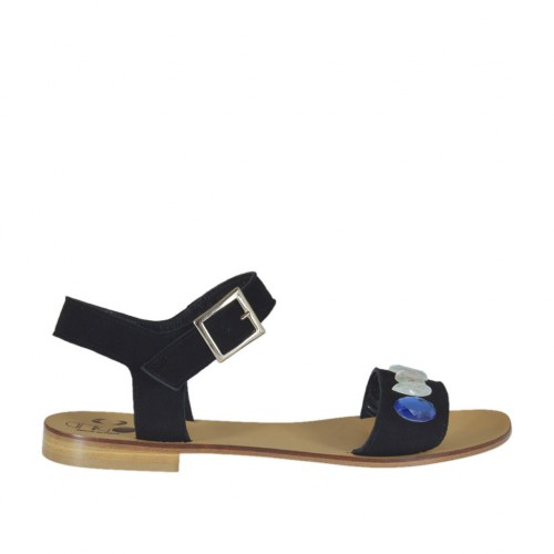 Women's strap sandal with colored rhinestones in black suede heel 1 - Available sizes:  43