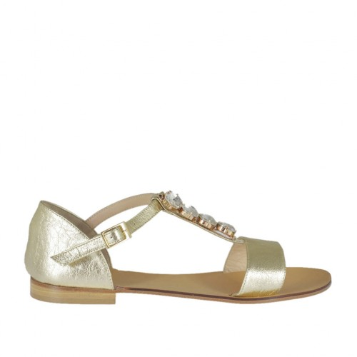 Woman's open shoe in platinum laminated leather with T-strap and rhinestones heel 1 - Available sizes:  43, 44