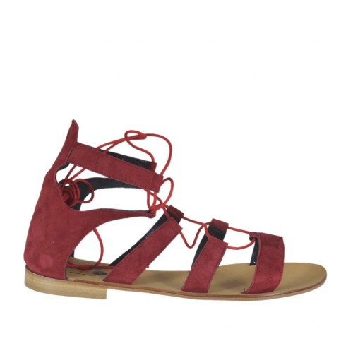 Woman's laced gladiator open shoe in red suede heel 1 - Available sizes:  43, 45
