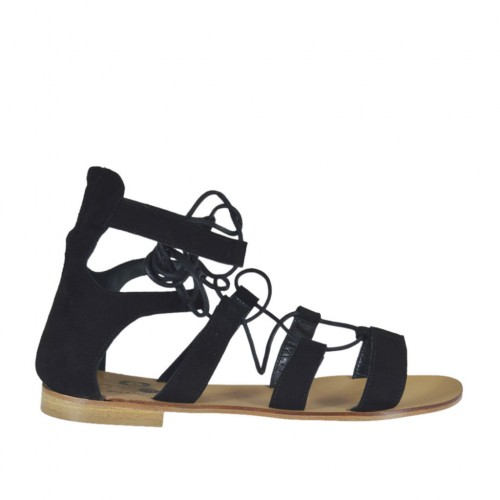 Woman's laced gladiator open shoe in black suede heel 1 - Available sizes:  42
