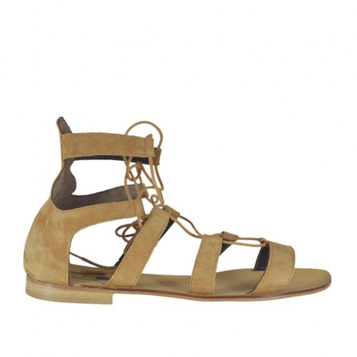 Woman's laced gladiator open shoe in beige suede heel 1 - Available sizes:  42, 43, 44, 45, 46
