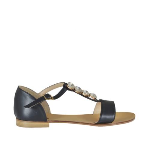 Scarpa aperta da donna in pelle nera con cinturino Charleston e pietre tacco 1 - Misure disponibili: 42, 44