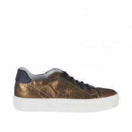 Zapato deportivo para mujer con cordones en piel negra y piel laminada bronce cuña 3 - Tallas disponibles: 42, 43, 44, 45, 46