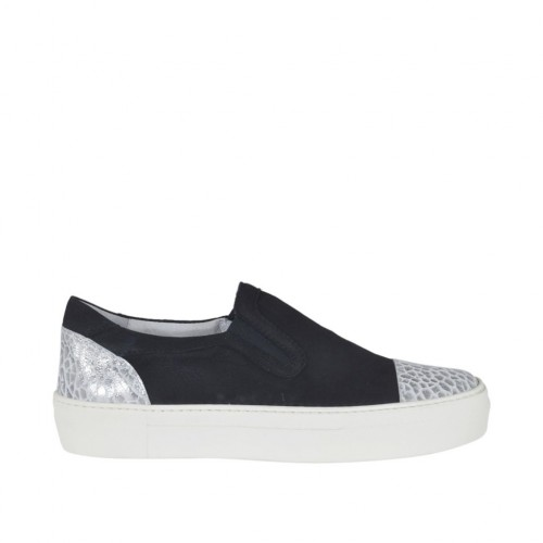 Woman's slip on shoe with elastic bands in black nubuck leather and silver printed laminated leather wedge 3 - Available sizes:  43, 44