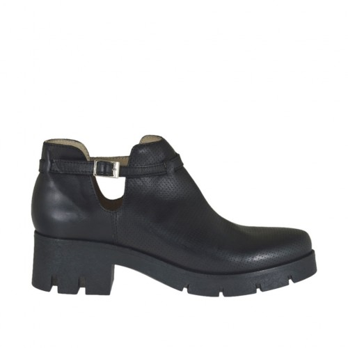 Woman's ankle boot with strap in black leather and pierced leather heel 5 - Available sizes:  42, 45