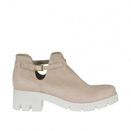 Woman's ankle boot with strap in powder rose pierced leather heel 5 - Available sizes: 42, 43, 44, 45