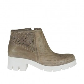 Woman's ankle boot in taupe leather and pierced leather heel 5 - Available sizes: 42, 43, 44, 45