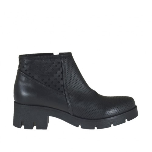 Woman's ankle boot with zipper in black leather and pierced leather heel 5 - Available sizes:  42, 44