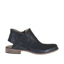 Damenstiefelette mit offener Ferse und Reissverschluss aus schwarzem Leder und perforiertem Leder Absatz 2 - Verfügbare Größen: 42, 43, 44, 45, 46